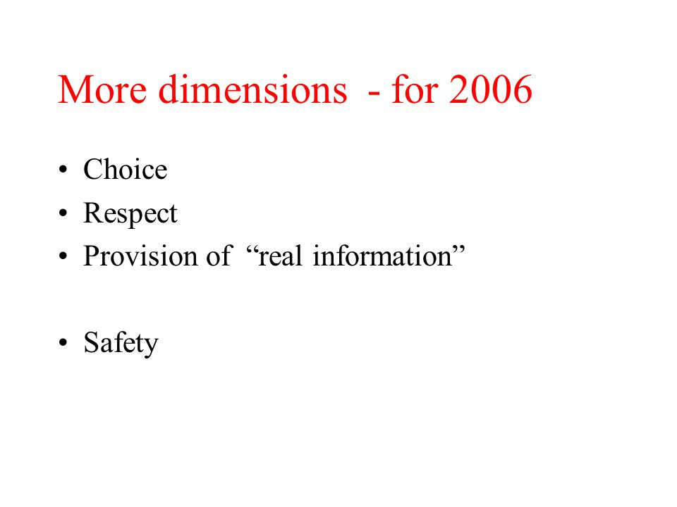 More dimensions - for 2006 Choice Respect Provision of real information Safety