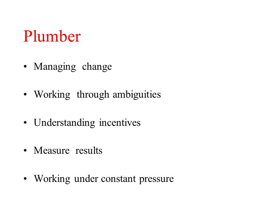 Plumber Managing change Working through ambiguities Understanding incentives Measure results Working under constant pressure