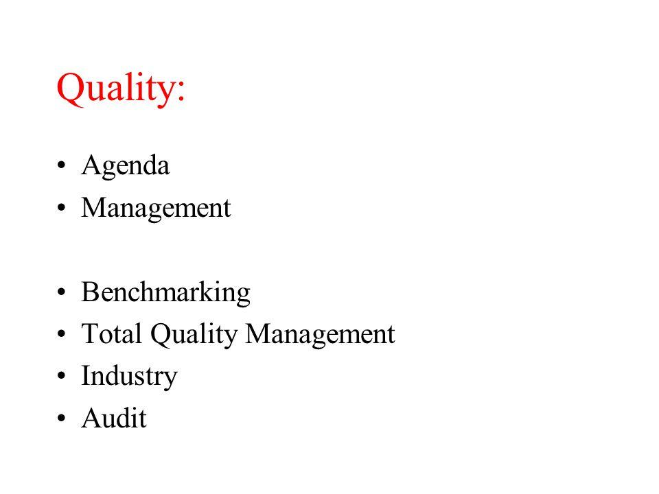 Quality: Agenda Management Benchmarking Total Quality Management Industry Audit