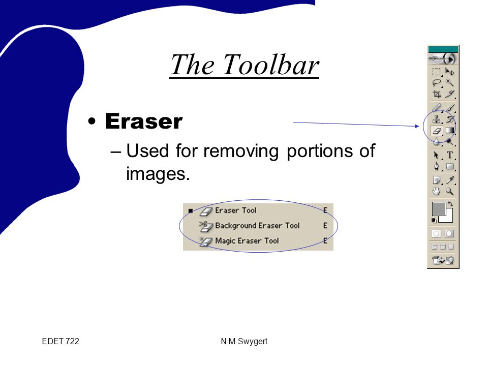EDET 722N M Swygert The Toolbar Eraser –Used for removing portions of images.