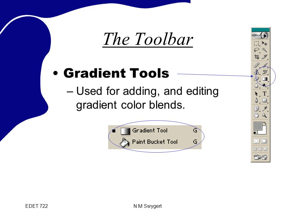 EDET 722N M Swygert The Toolbar Gradient Tools –Used for adding, and editing gradient color blends.