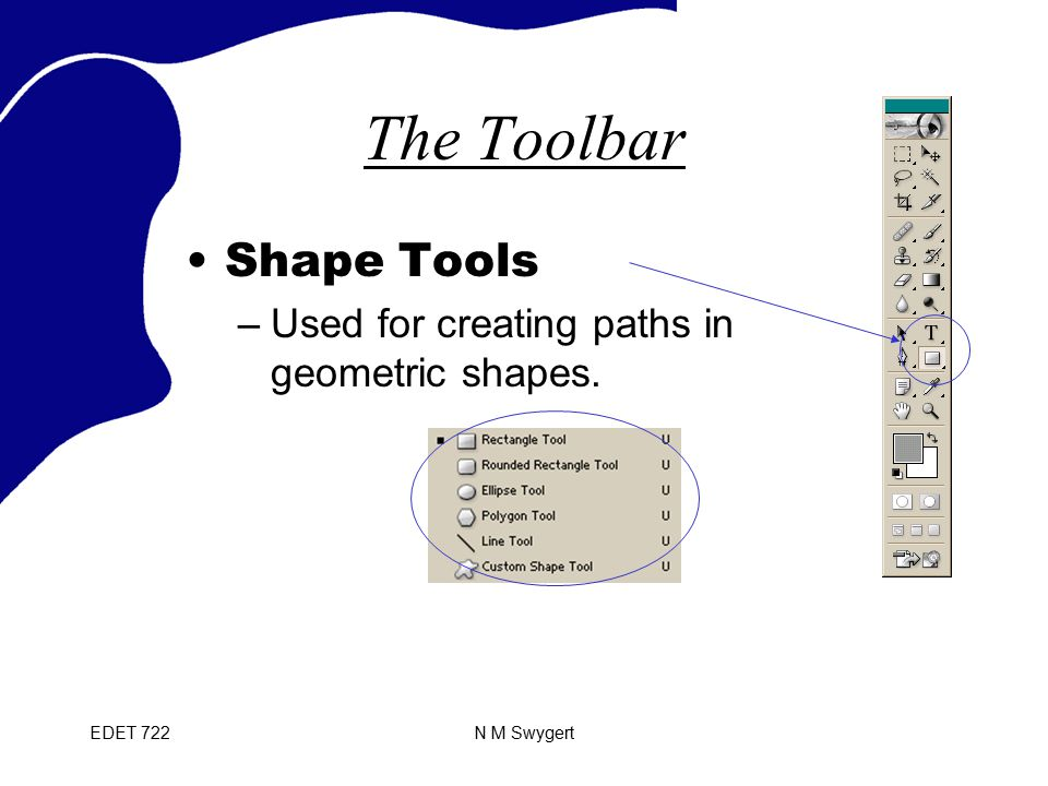 EDET 722N M Swygert The Toolbar Shape Tools –Used for creating paths in geometric shapes.