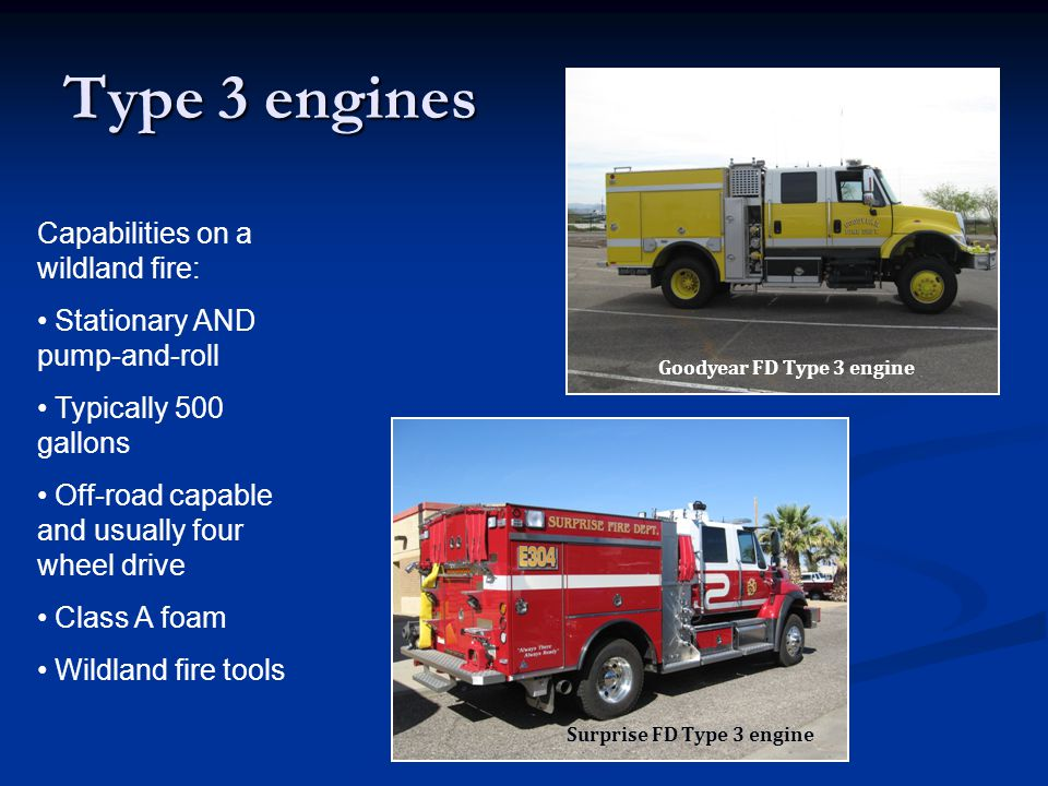 Type 3 engines Capabilities on a wildland fire: Stationary AND pump-and-roll Typically 500 gallons Off-road capable and usually four wheel drive Class