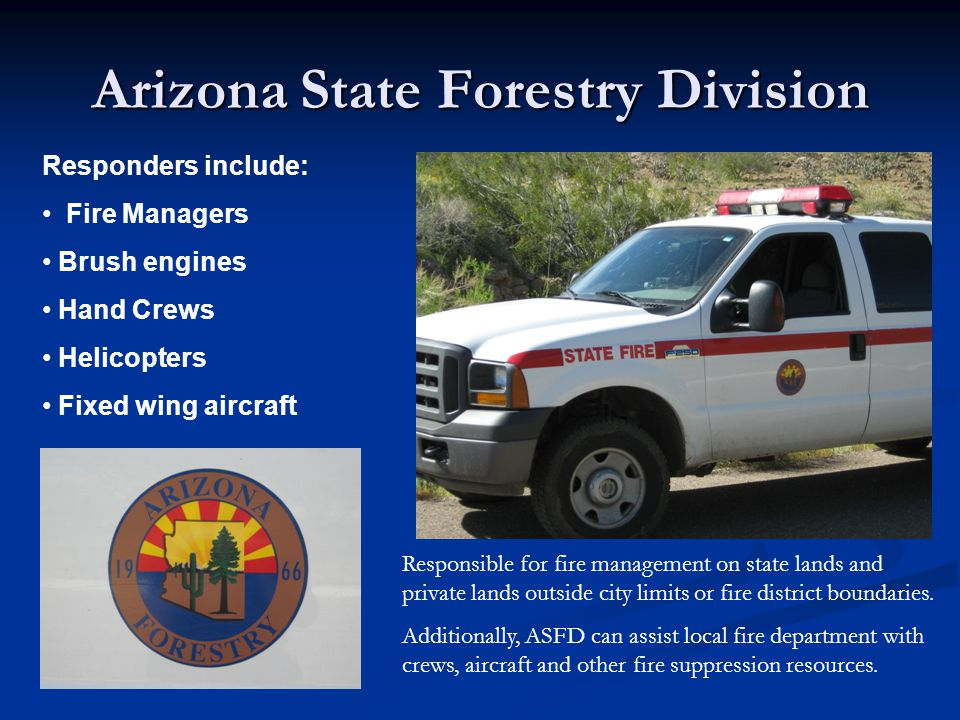 Bureau of Land Management Responders include: Fire Managers Brush engines Hand Crews Helicopters Fixed wing aircraft Responsible for fire management on federal lands belonging to the Bureau of Land Management.