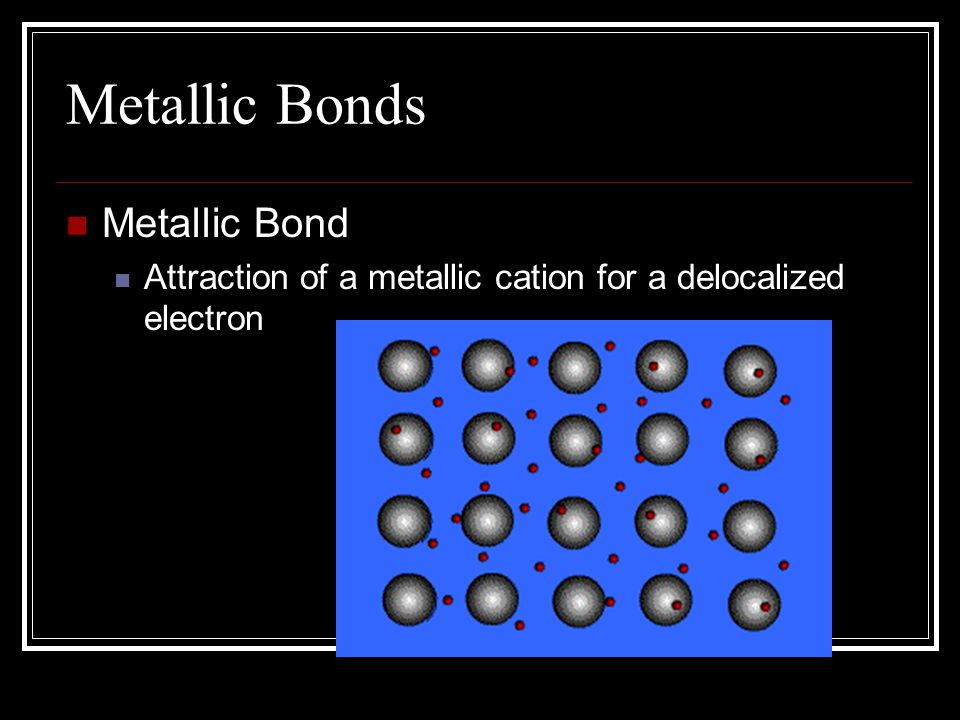 Metallic Bonds In the solid crystal lattice of metals Electrons are crowded Outer energy levels overlap Like