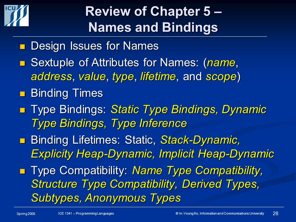 Spring 2005 28 ICE 1341 – Programming Languages © In-Young Ko, Information and Communications University Review of Chapter 5 – Names and Bindings Design Issues for Names Design Issues for Names Sextuple of Attributes for Names: (name, address, value, type, lifetime, and scope) Sextuple of Attributes for Names: (name, address, value, type, lifetime, and scope) Binding Times Binding Times Type Bindings: Static Type Bindings, Dynamic Type Bindings, Type Inference Type Bindings: Static Type Bindings, Dynamic Type Bindings, Type Inference Binding Lifetimes: Static, Stack-Dynamic, Explicity Heap-Dynamic, Implicit Heap-Dynamic Binding Lifetimes: Static, Stack-Dynamic, Explicity Heap-Dynamic, Implicit Heap-Dynamic Type Compatibility: Name Type Compatibility, Structure Type Compatibility, Derived Types, Subtypes, Anonymous Types Type Compatibility: Name Type Compatibility, Structure Type Compatibility, Derived Types, Subtypes, Anonymous Types