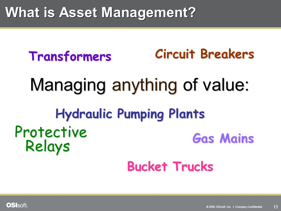 11 © 2008 OSIsoft, Inc. | Company Confidential What is Asset Management.