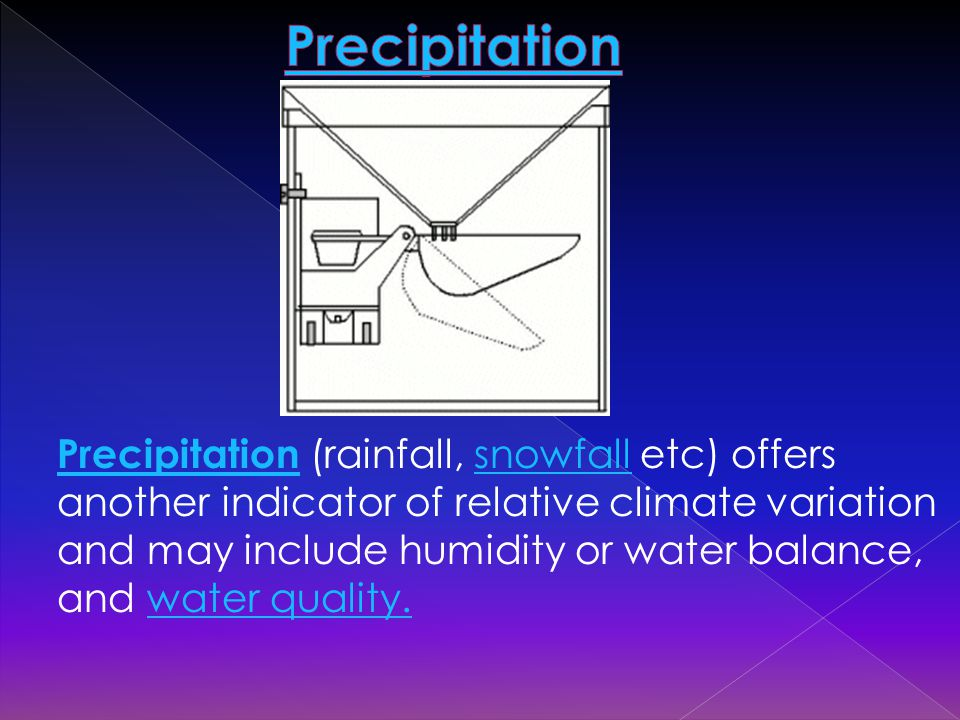 Precipitation Precipitation (rainfall, snowfall etc) offers another indicator of relative climate variation and may include humidity or water balance, and water quality.snowfallwater quality.