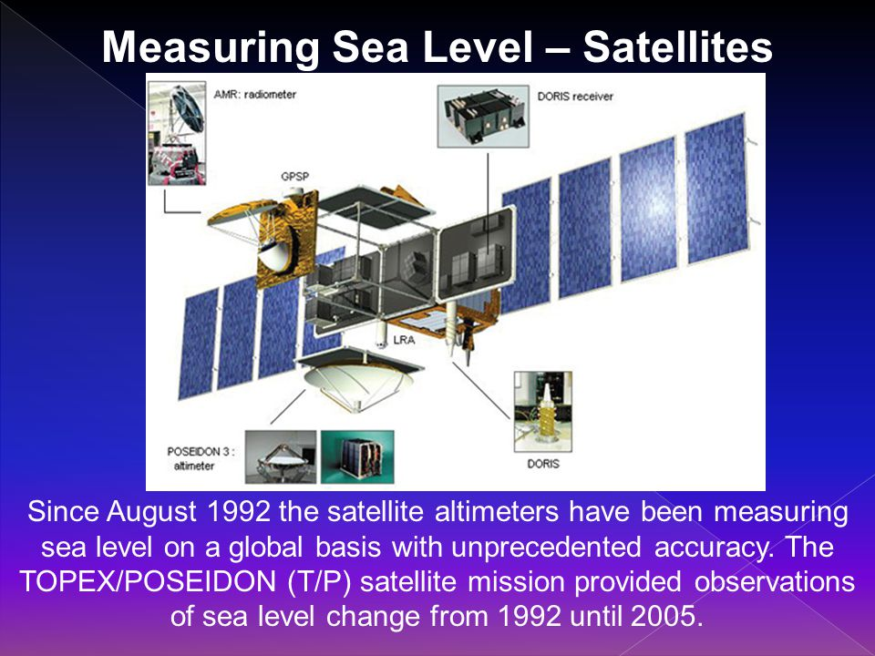 Measuring Sea Level – Satellites Since August 1992 the satellite altimeters have been measuring sea level on a global basis with unprecedented accuracy.