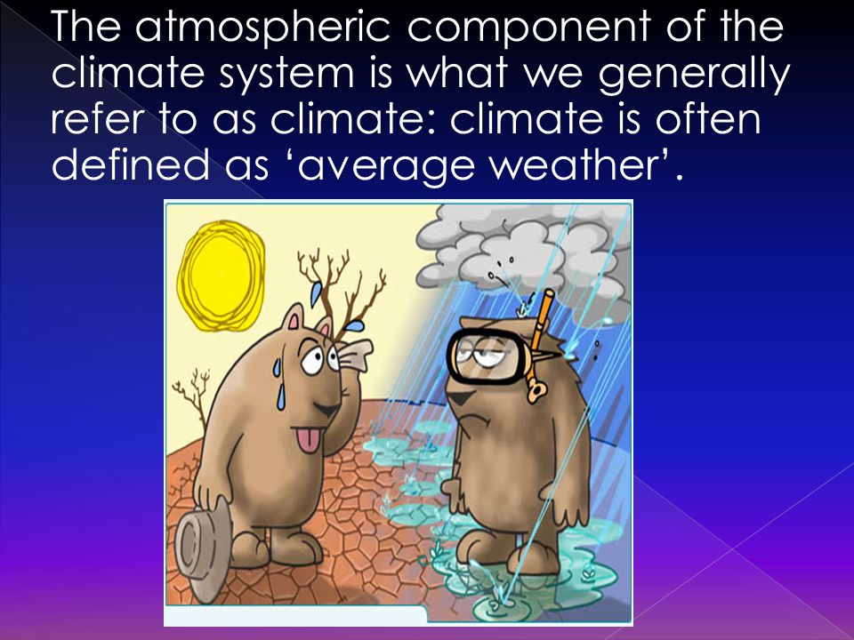 The atmospheric component of the climate system is what we generally refer to as climate: climate is often defined as 'average weather'.