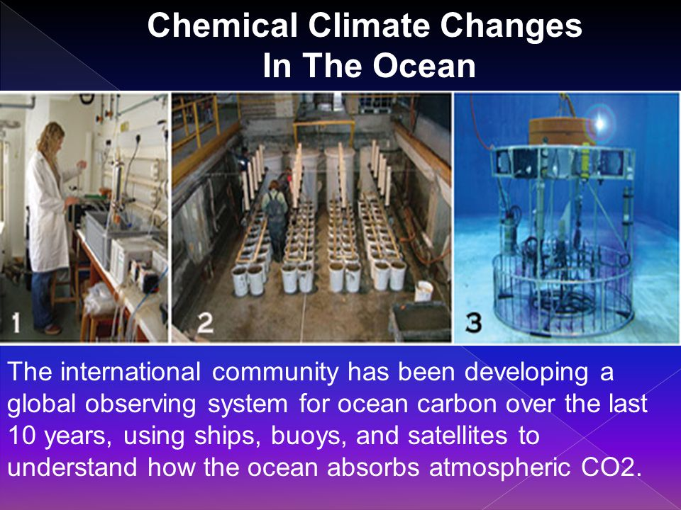Chemical Climate Changes In The Ocean The international community has been developing a global observing system for ocean carbon over the last 10 years, using ships, buoys, and satellites to understand how the ocean absorbs atmospheric CO2.