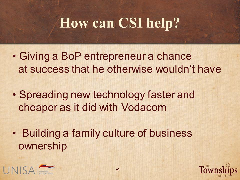 65 How can CSI help.