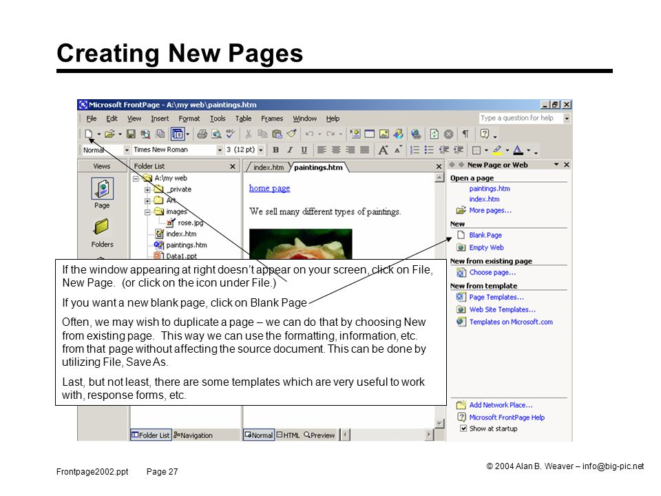Frontpage2002.ppt Page 27 © 2004 Alan B.