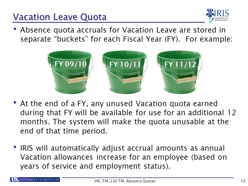 10 Vacation Leave Quota Absence quota accruals for Vacation Leave are stored in separate buckets for each Fiscal Year (FY).