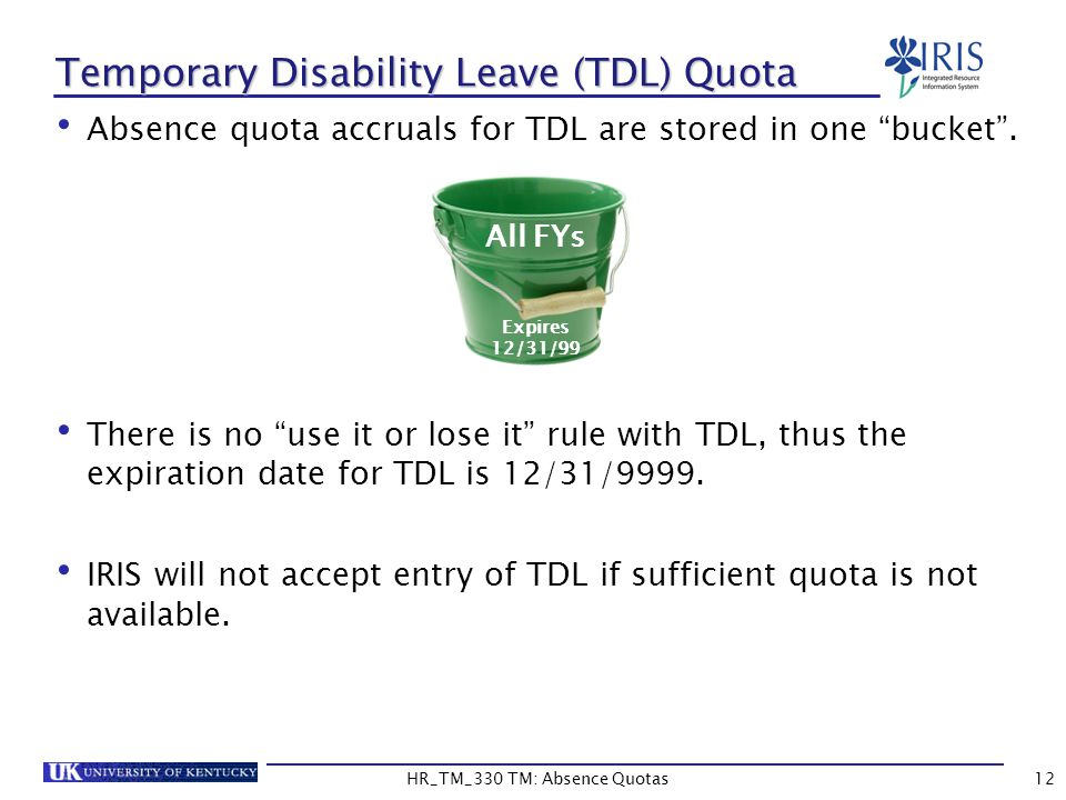 Absence quota accruals for TDL are stored in one bucket .