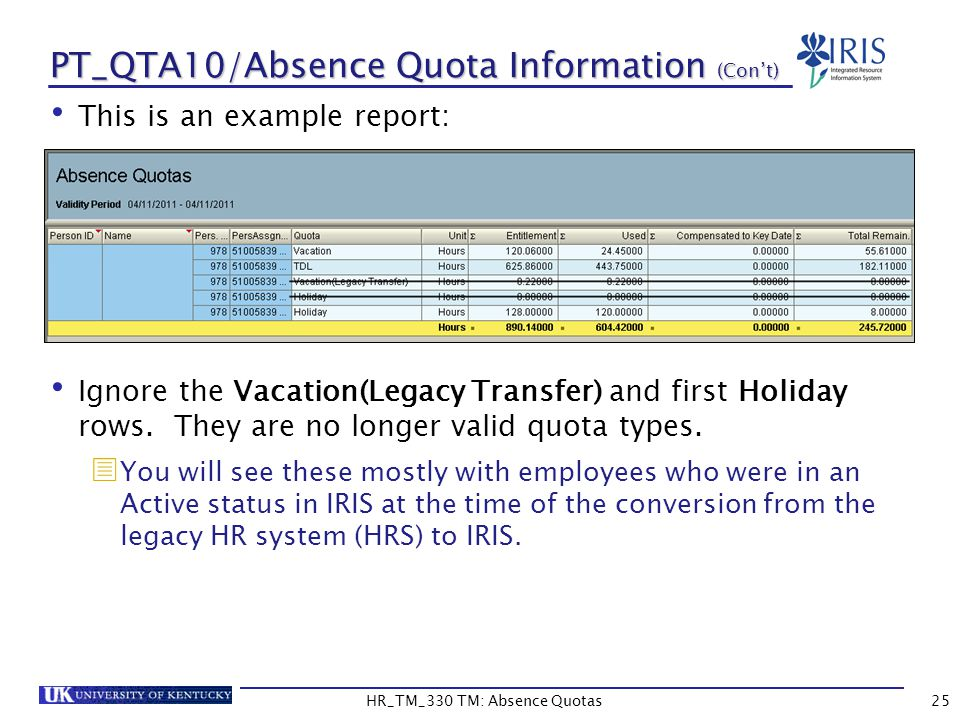 PT_QTA10/Absence Quota Information (Con't) This is an example report: Ignore the Vacation(Legacy Transfer) and first Holiday rows.