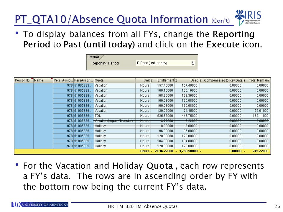 PT_QTA10/Absence Quota Information (Con't) To display balances from all FYs, change the Reporting Period to Past (until today) and click on the Execute icon.