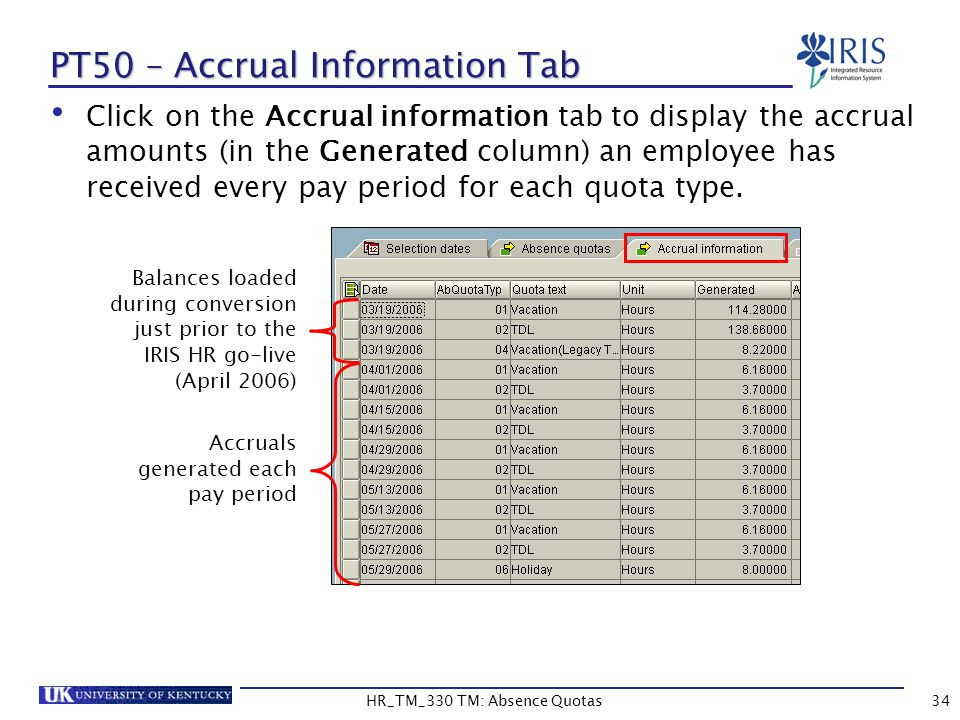 Click on the Accrual information tab to display the accrual amounts (in the Generated column) an employee has received every pay period for each quota type.