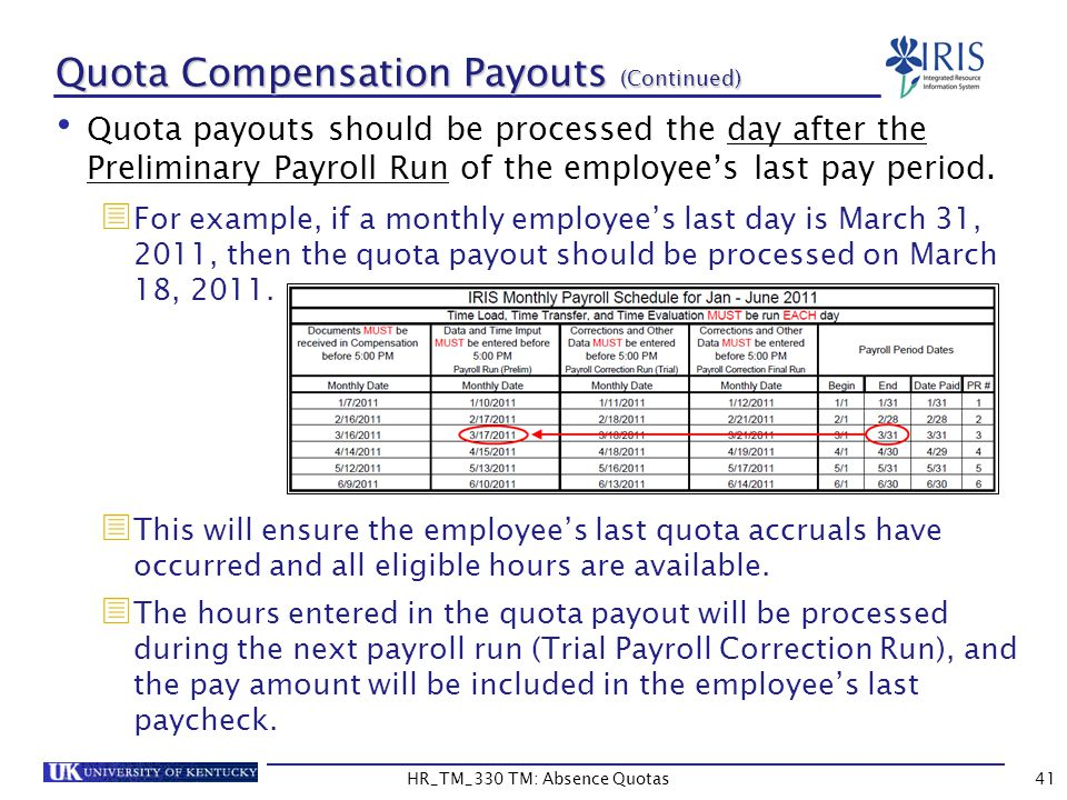 Quota Compensation Payouts (Continued) Quota payouts should be processed the day after the Preliminary Payroll Run of the employee's last pay period.