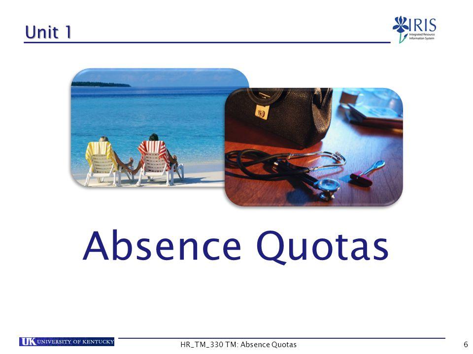6 Unit 1 Absence Quotas HR_TM_330 TM: Absence Quotas