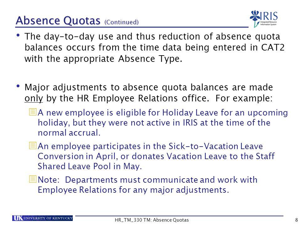 19 Unit 2 Displaying Quota Balances HR_TM_330 TM: Absence Quotas