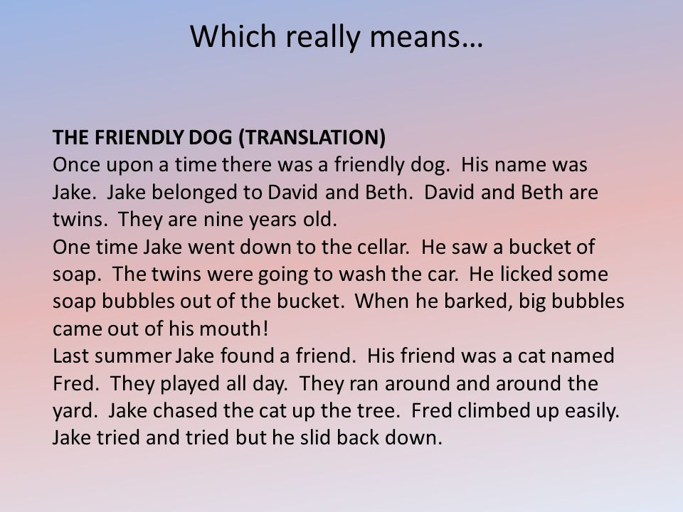 Which really means… THE FRIENDLY DOG (TRANSLATION) Once upon a time there was a friendly dog. His name was Jake. Jake belonged to David and Beth. Davi