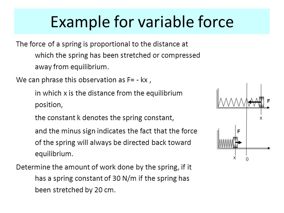 Example for variable force The force of a spring is proportional to the distance at which the spring has been stretched or compressed away from equili