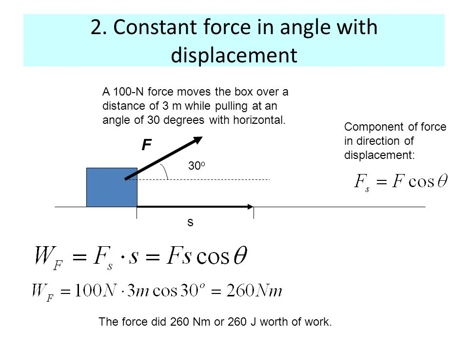 3 - variable force parallel to displacement F x x F dx F Need to know F(x)