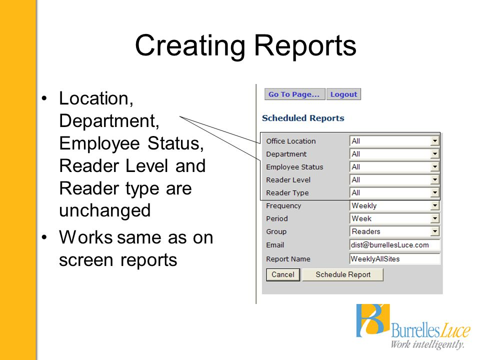 Creating Reports Location, Department, Employee Status, Reader Level and Reader type are unchanged Works same as on screen reports