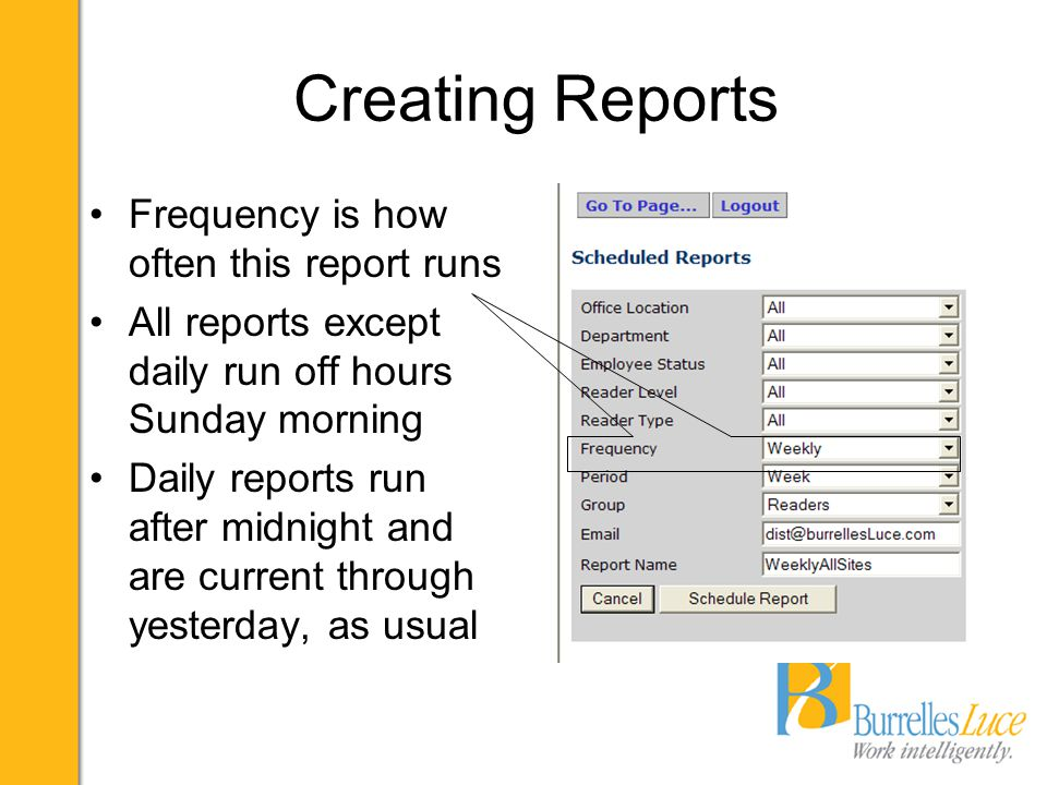 Creating Reports Period is the date range for this report Period can be day, week, month, quarter or year EOM, EOQ and EOY reports run first Sunday after close of the period