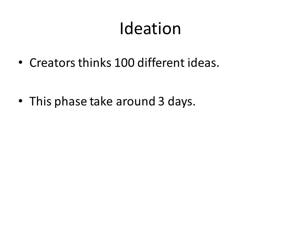 Ideation Creators thinks 100 different ideas. This phase take around 3 days.