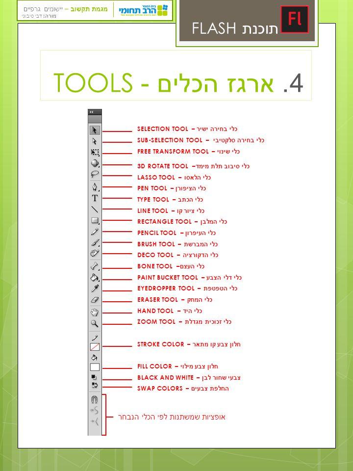מגמת תקשוב – יישומים גרפיים מורה: דבי סיבוני תוכנת FLASH 4. ארגז הכלים - TOOLS TOOLS Selection—Used to select an object or parts of an object, such as