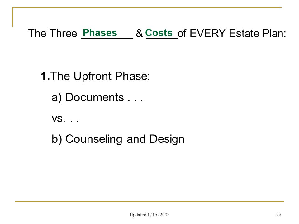 Updated 1/15/2007 26 The Three & of EVERY Estate Plan: PhasesCosts 1.The Upfront Phase: a) Documents...