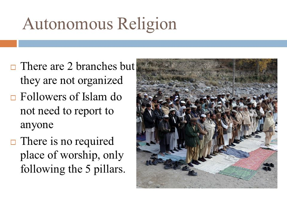 Autonomous Religion  There are 2 branches but they are not organized  Followers of Islam do not need to report to anyone  There is no required place of worship, only following the 5 pillars.