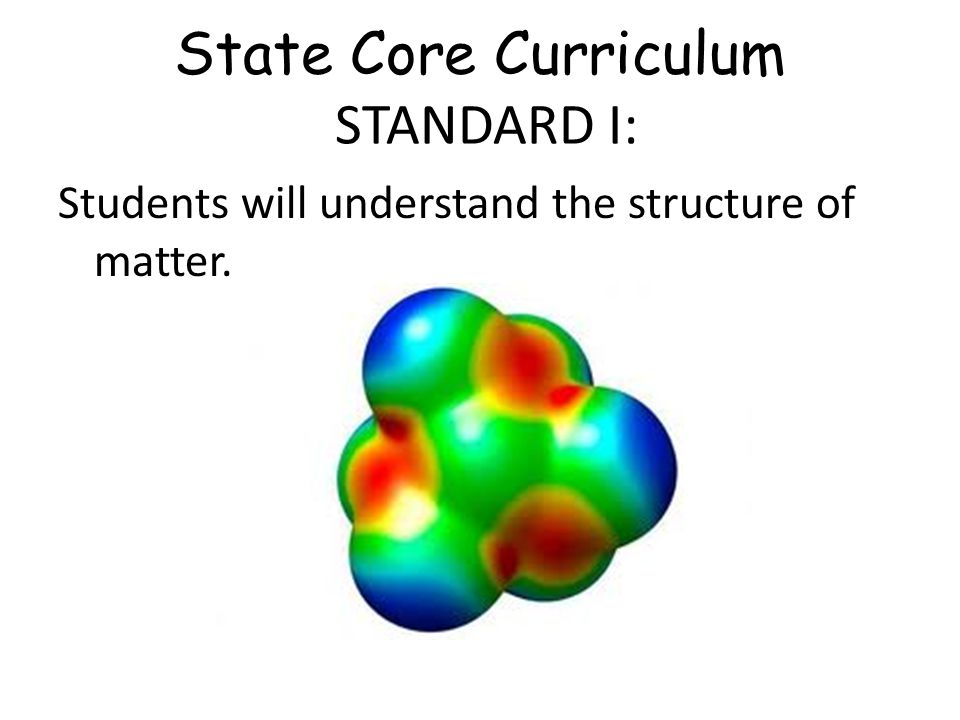State Core Curriculum STANDARD I: Students will understand the structure of matter.