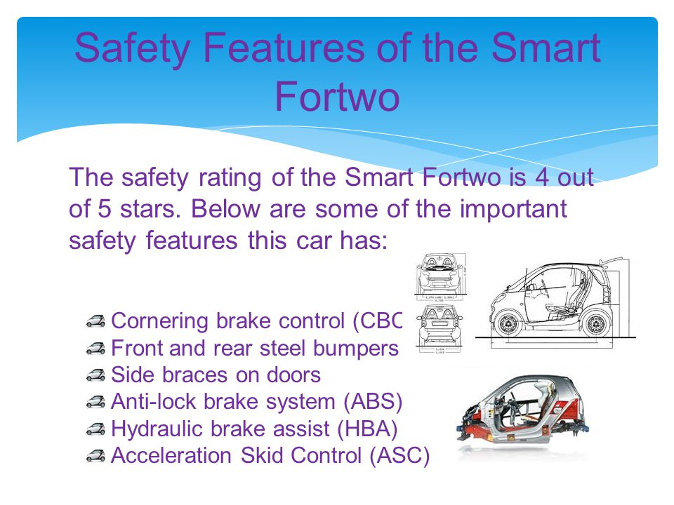 The safety rating of the Smart Fortwo is 4 out of 5 stars. Below are some of the important safety features this car has: Safety Features of the Smart