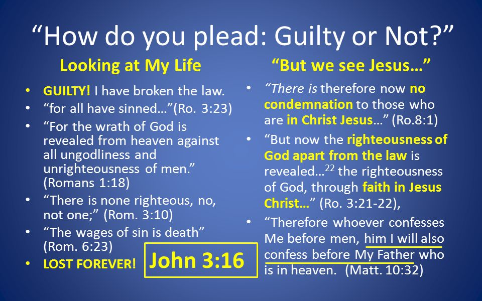 How do you plead: Guilty or Not Looking at My Life GUILTY.
