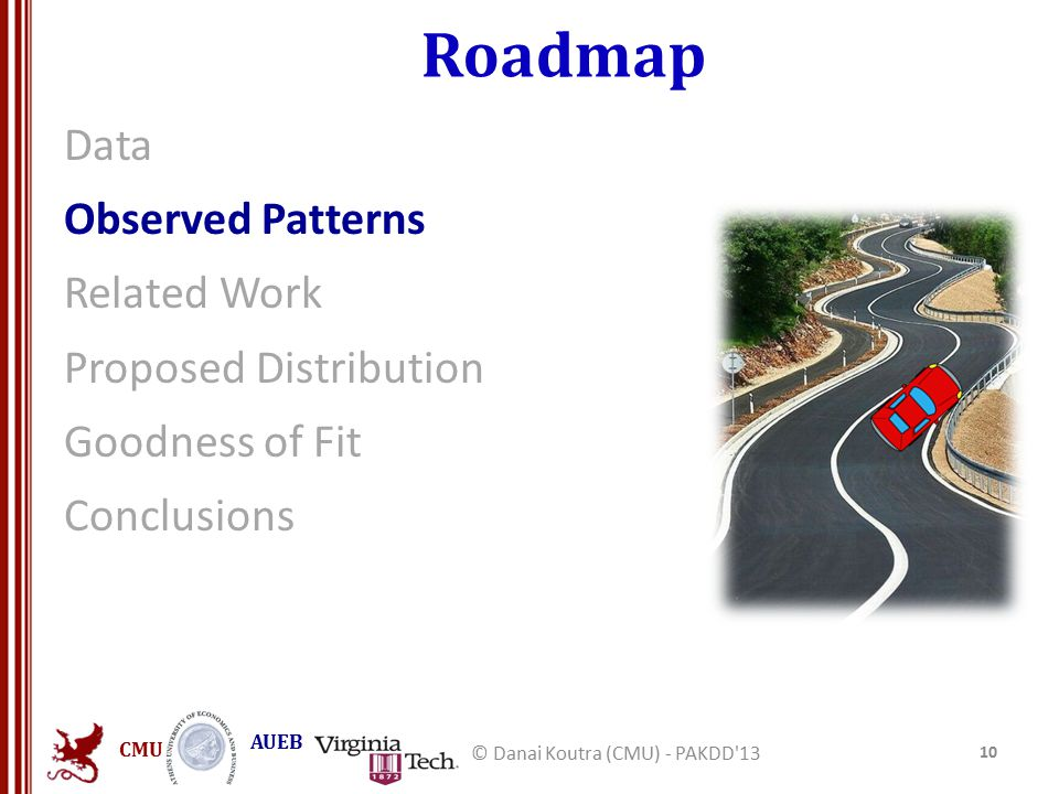 CMU AUEB Roadmap Data Observed Patterns Related Work Proposed Distribution Goodness of Fit Conclusions 10 © Danai Koutra (CMU) - PAKDD'13
