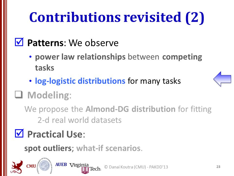 CMU AUEB Contributions revisited (2)  Patterns: We observe power law relationships between competing tasks log-logistic distributions for many tasks  Modeling: We propose the Almond-DG distribution for fitting 2-d real world datasets  Practical Use: spot outliers; what-if scenarios.