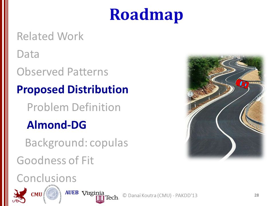 CMU AUEB Roadmap Related Work Data Observed Patterns Proposed Distribution Problem Definition Almond-DG Background: copulas Goodness of Fit Conclusions 28 © Danai Koutra (CMU) - PAKDD 13