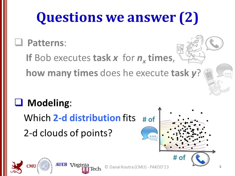CMU AUEB Questions we answer (2)  Patterns: If Bob executes task x for n x times, how many times does he execute task y?  Modeling: Which 2-d distri
