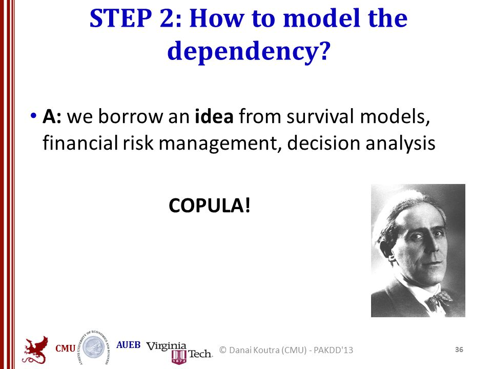 CMU AUEB STEP 2: How to model the dependency? A: we borrow an idea from survival models, financial risk management, decision analysis COPULA! 36 © Dan