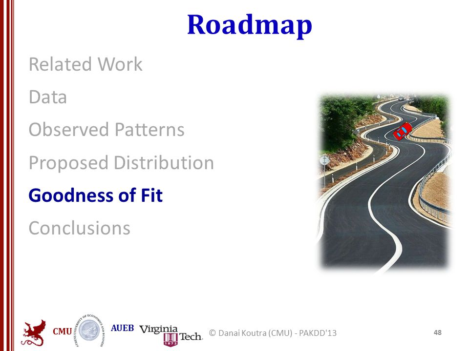 CMU AUEB Roadmap Related Work Data Observed Patterns Proposed Distribution Goodness of Fit Conclusions 48 © Danai Koutra (CMU) - PAKDD 13