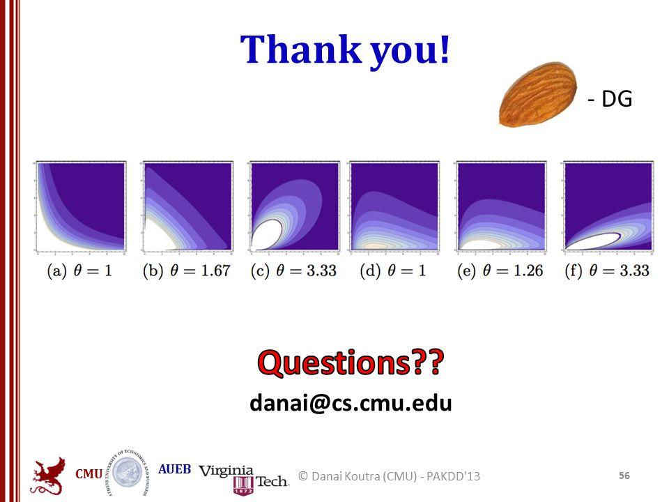 CMU AUEB Thank you! - DG 56 © Danai Koutra (CMU) - PAKDD 13