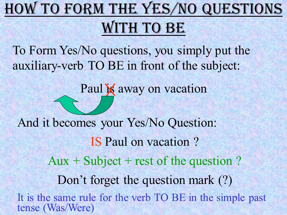 The Auxiliaries In a Yes/No Question, the auxiliaries are very important.