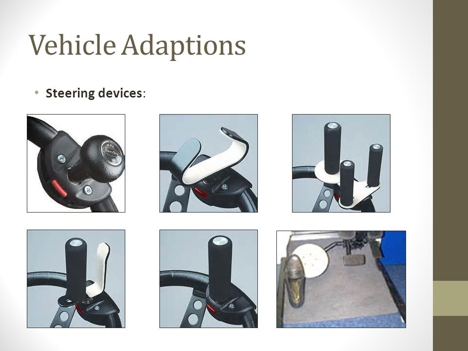 Vehicle Adaptions Steering devices: