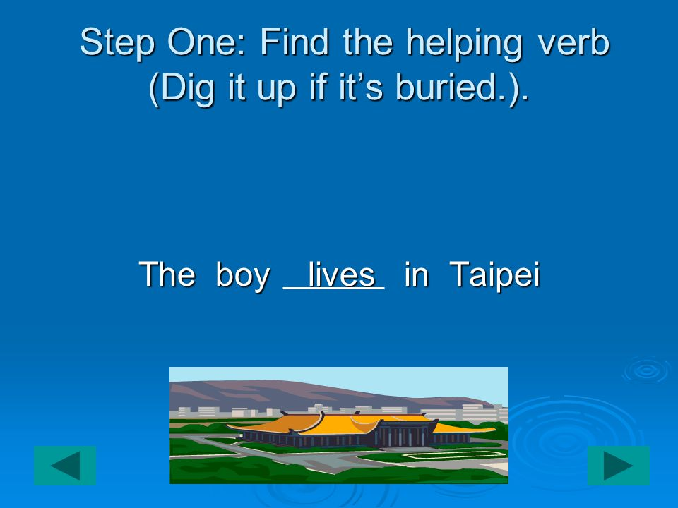 Step One: Find the helping verb (Dig it up if it's buried.).