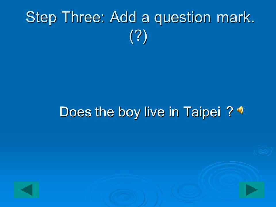 Step Three: Add a question mark. ( ) Step Three: Add a question mark.