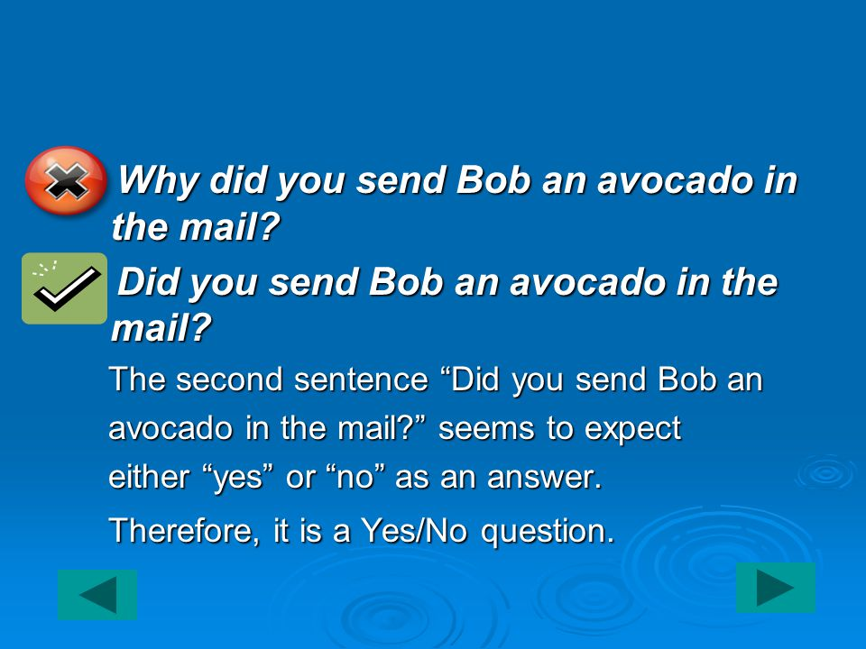 1. Why did you send Bob an avocado in the mail. 2.