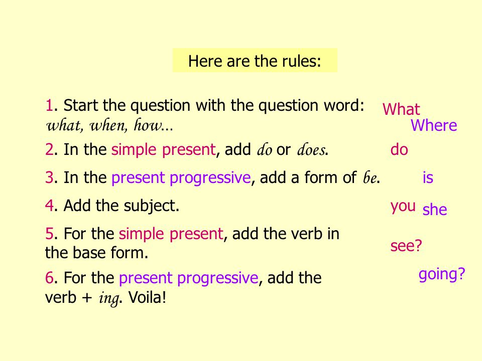 Part 3: Comparing Wh- Questions in Simple Present and Present Progressive